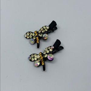 Dragonfly crystal hair clip